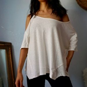 We the Free People Linen Cream Asymmetric Blouse